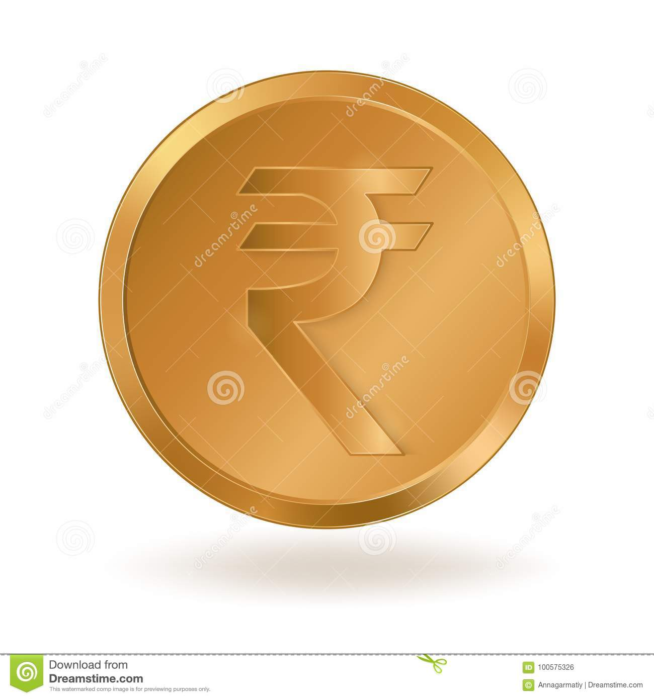 Golden Coin With Sign Indian Rupee Stock Vector Illustration Of
