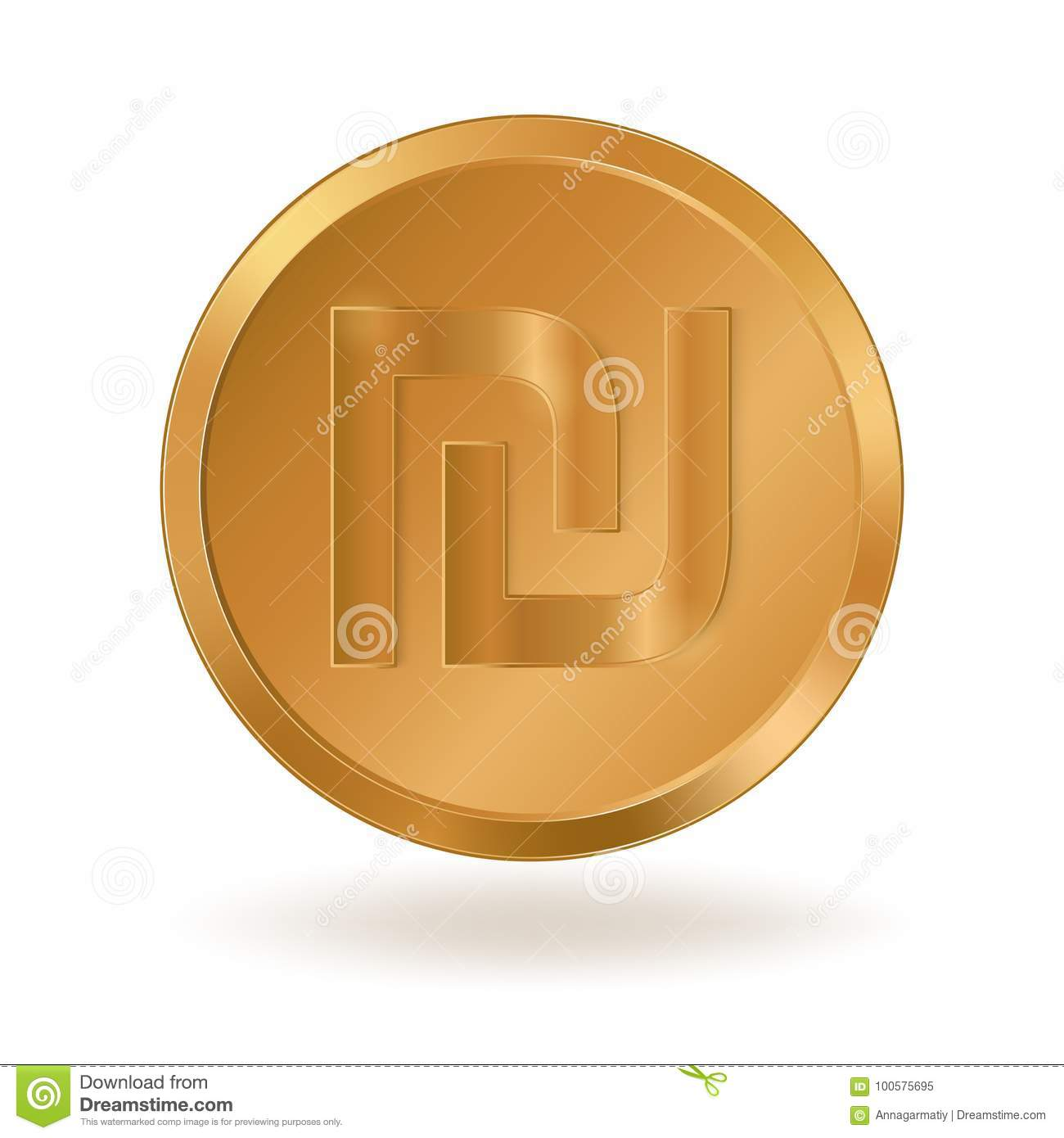 Golden Coin With Sign Shekel Stock Vector Illustration Of Business