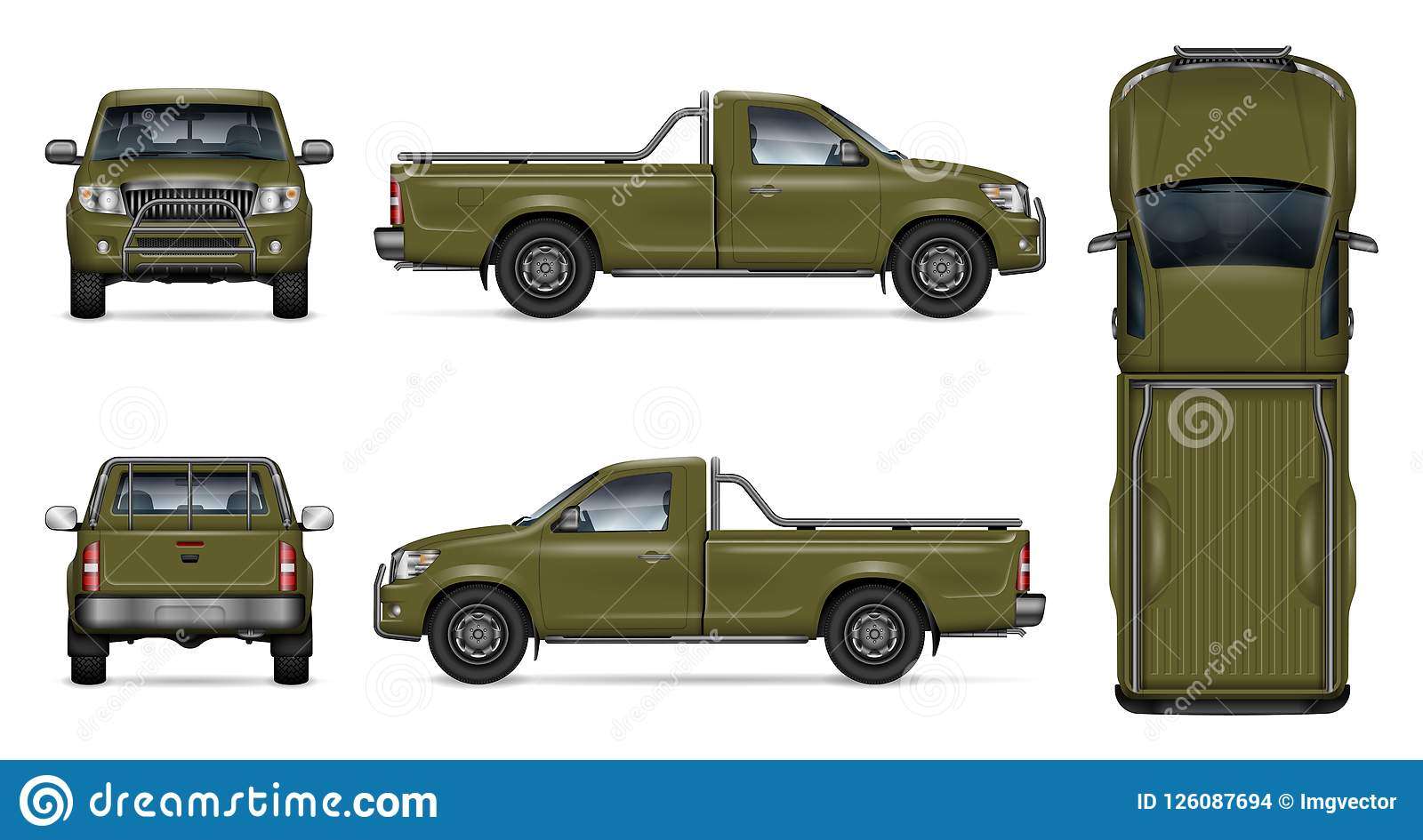Realistic Green Pickup Truck Vector Illustration Stock Vector Illustration Of Duty Back 126087694