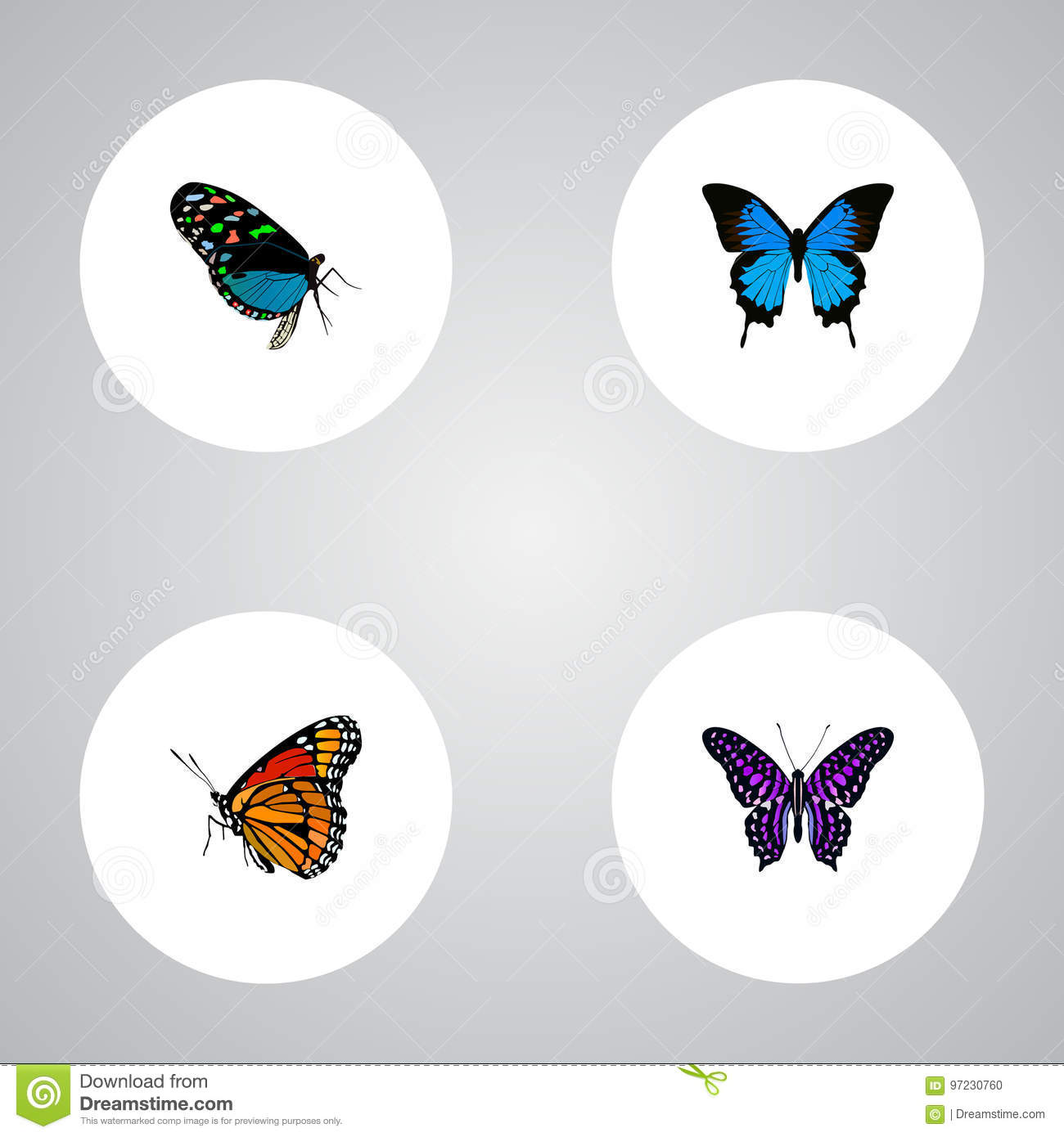 Realistic Hairstreak, Polyommatus Icarus, Common Blue And Other Vector Elements. Set Of Butterfly Realistic Symbols Also
