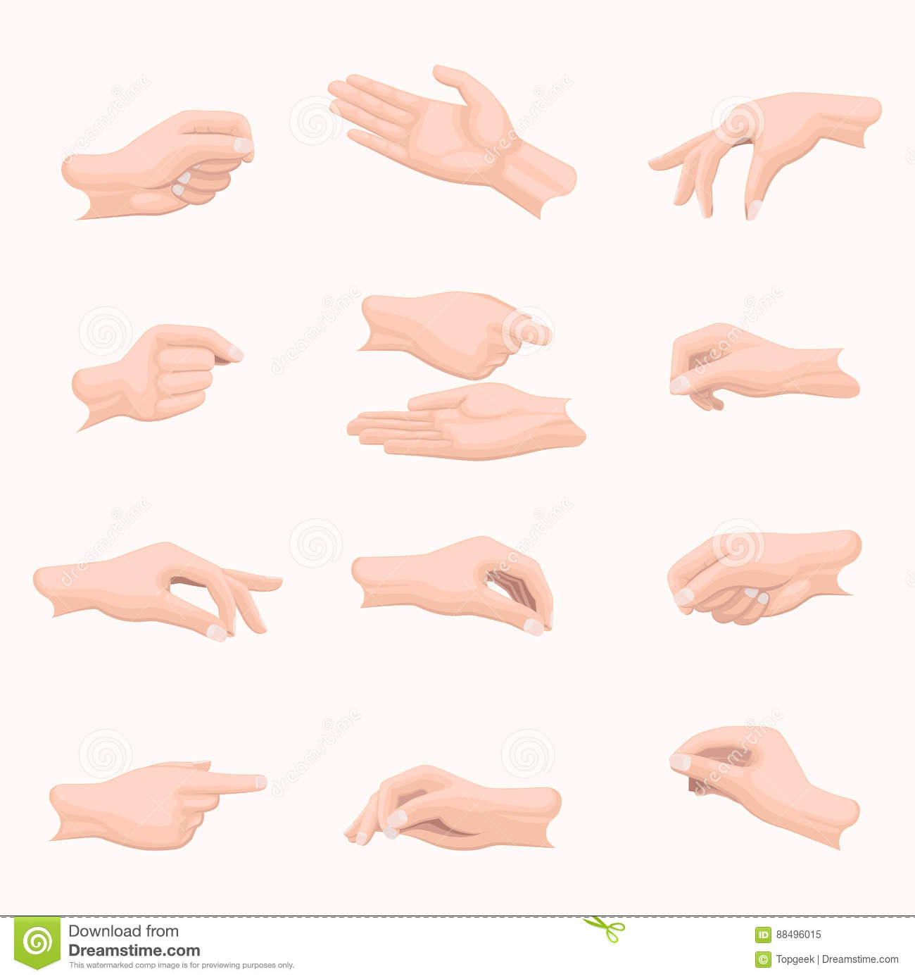 Realistic Hand Set with Fingers Positions on White