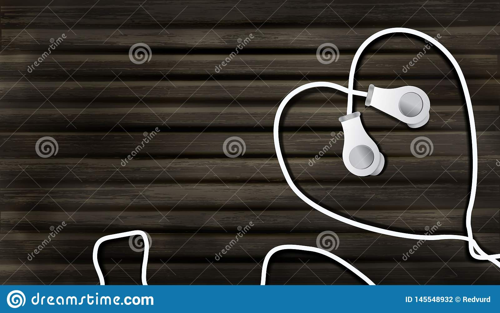Realistic headphones on a wooden background in the form of a heart. object to listen to music in the style of realism, 3D music