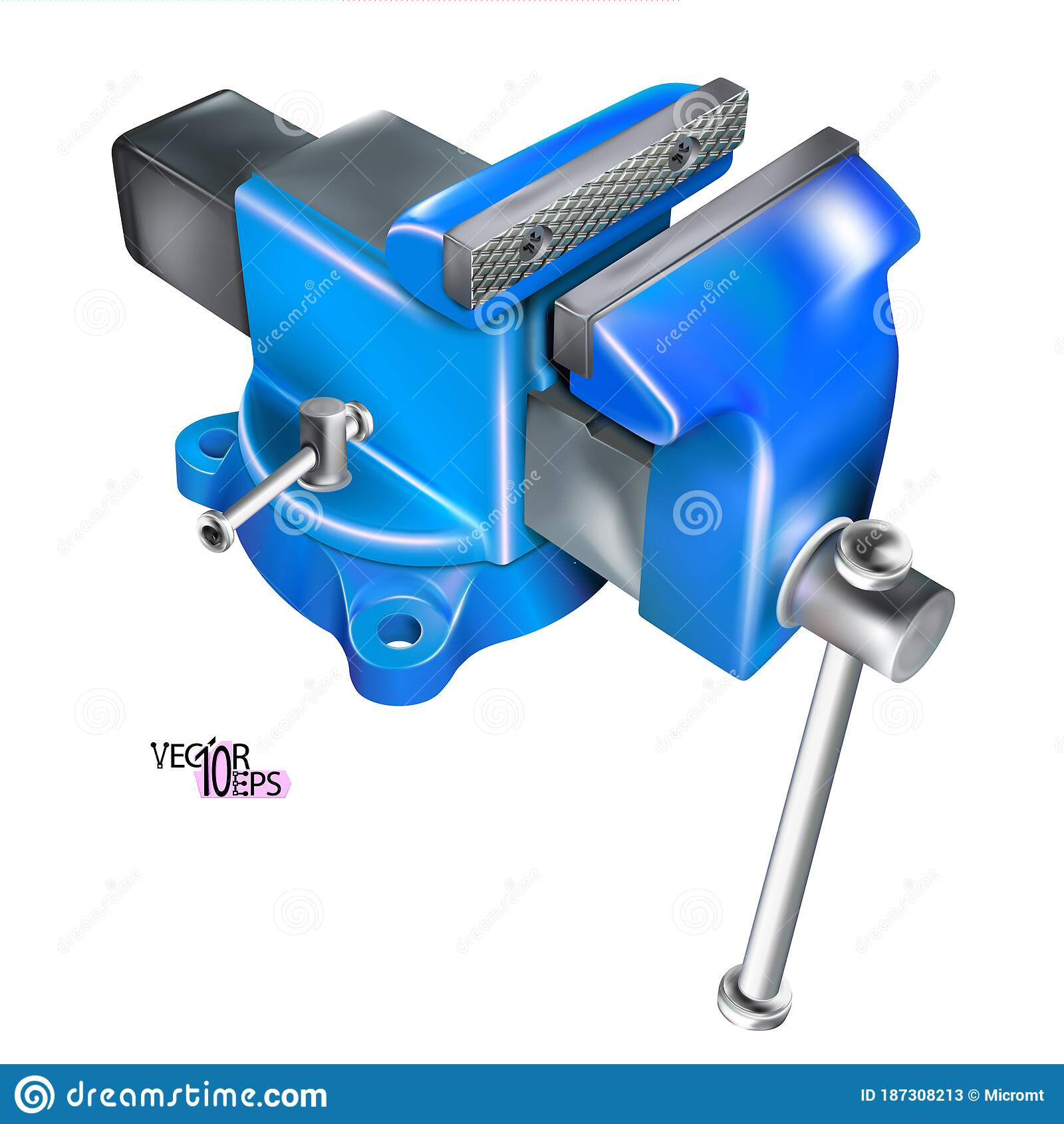 Realistic Heavy Duty Bench Vise On Swivel Base 3d Metal Blue Vice Metalwork Tool Isolated On White Background Vector Stock Vector Illustration Of Craft Locksmith 187308213