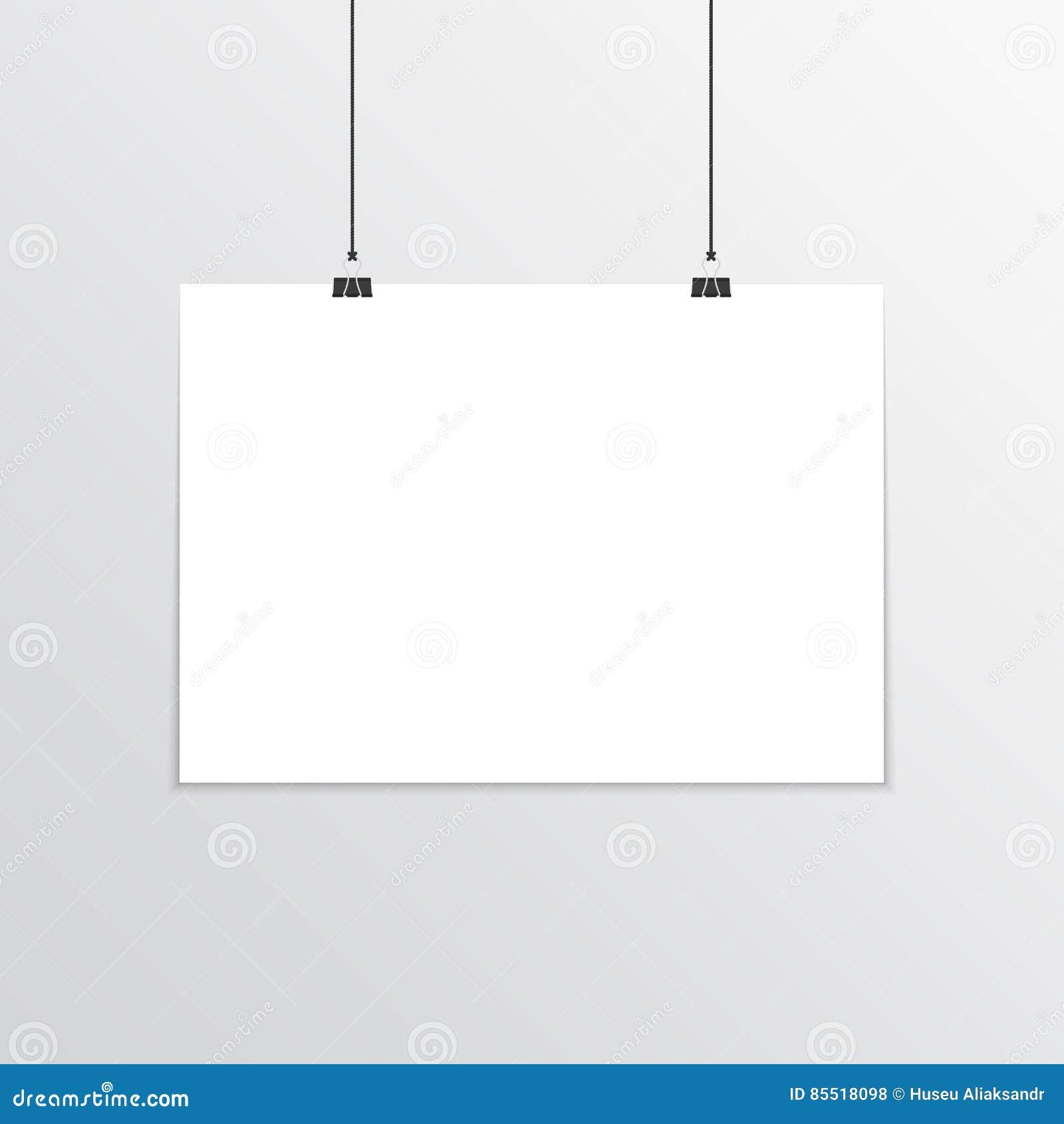 Realistic Horizontal Poster Mockup A4. Stock Vector