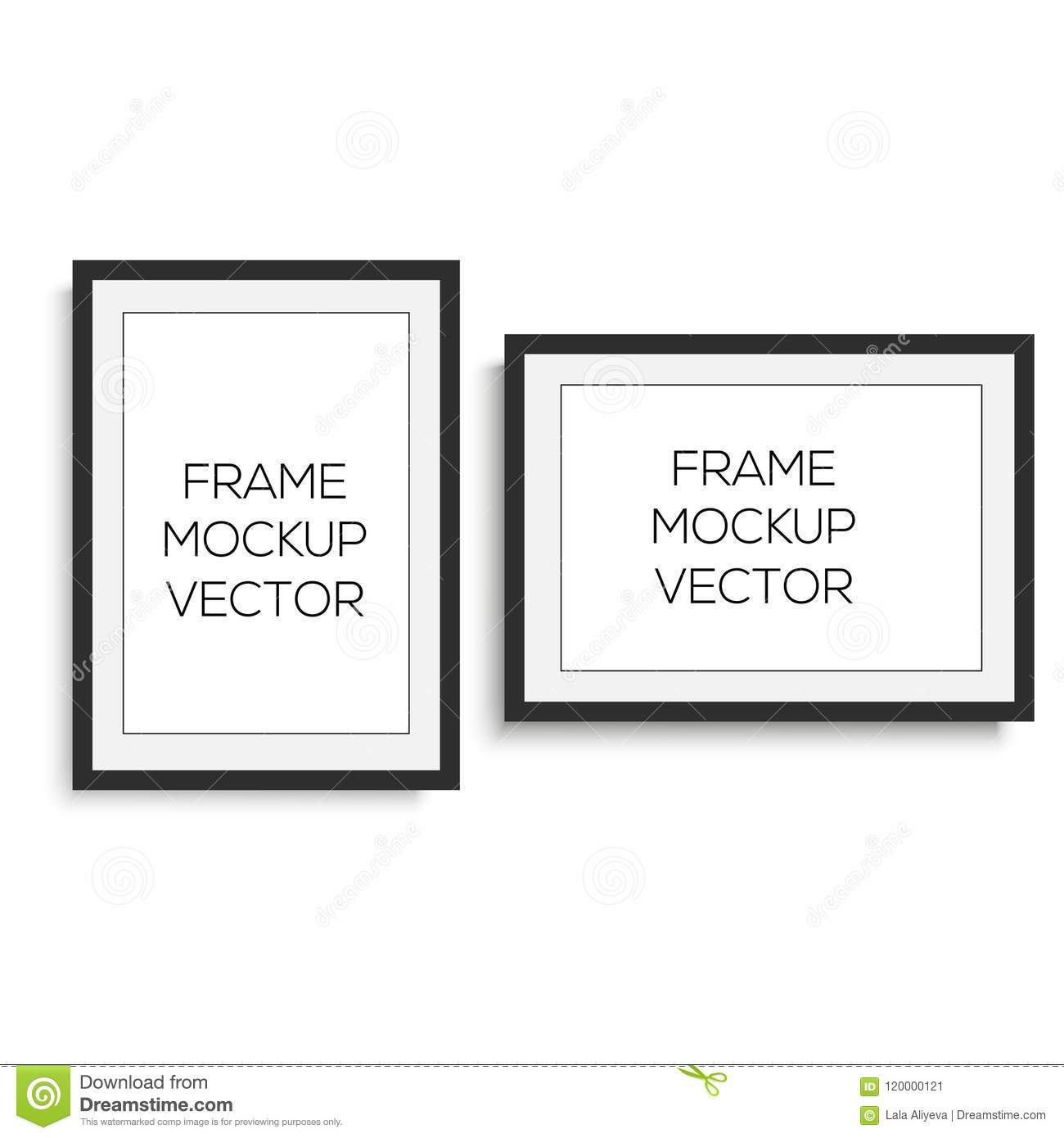 Realistic Horizontal And Vertical Black Photo Frame Vector Stock