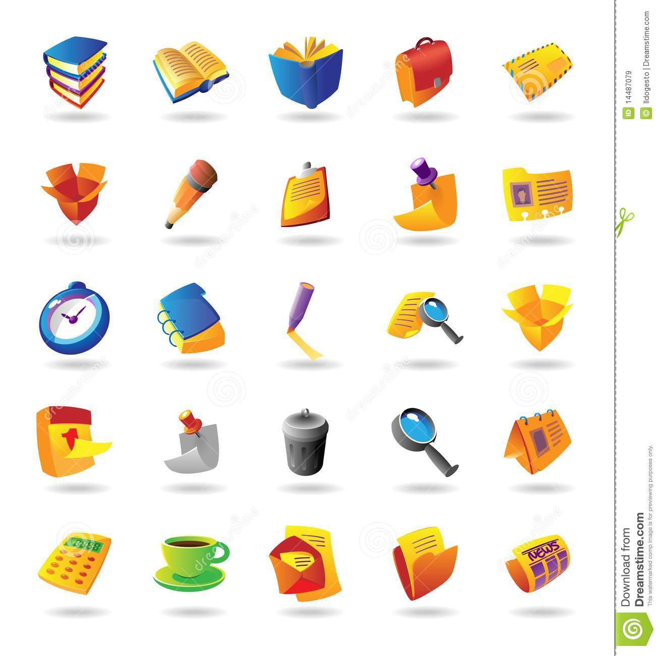 Realistic Icons Set For Office Themes Stock Vector ...