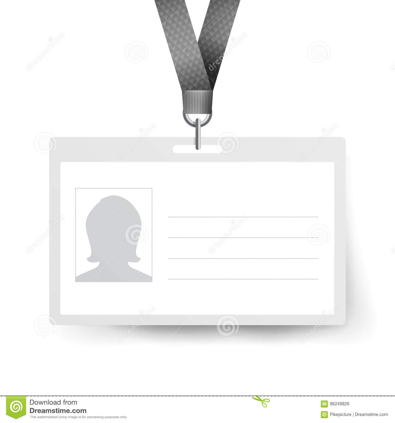 Realistic Identification Card Vector Template. Name Tag ...