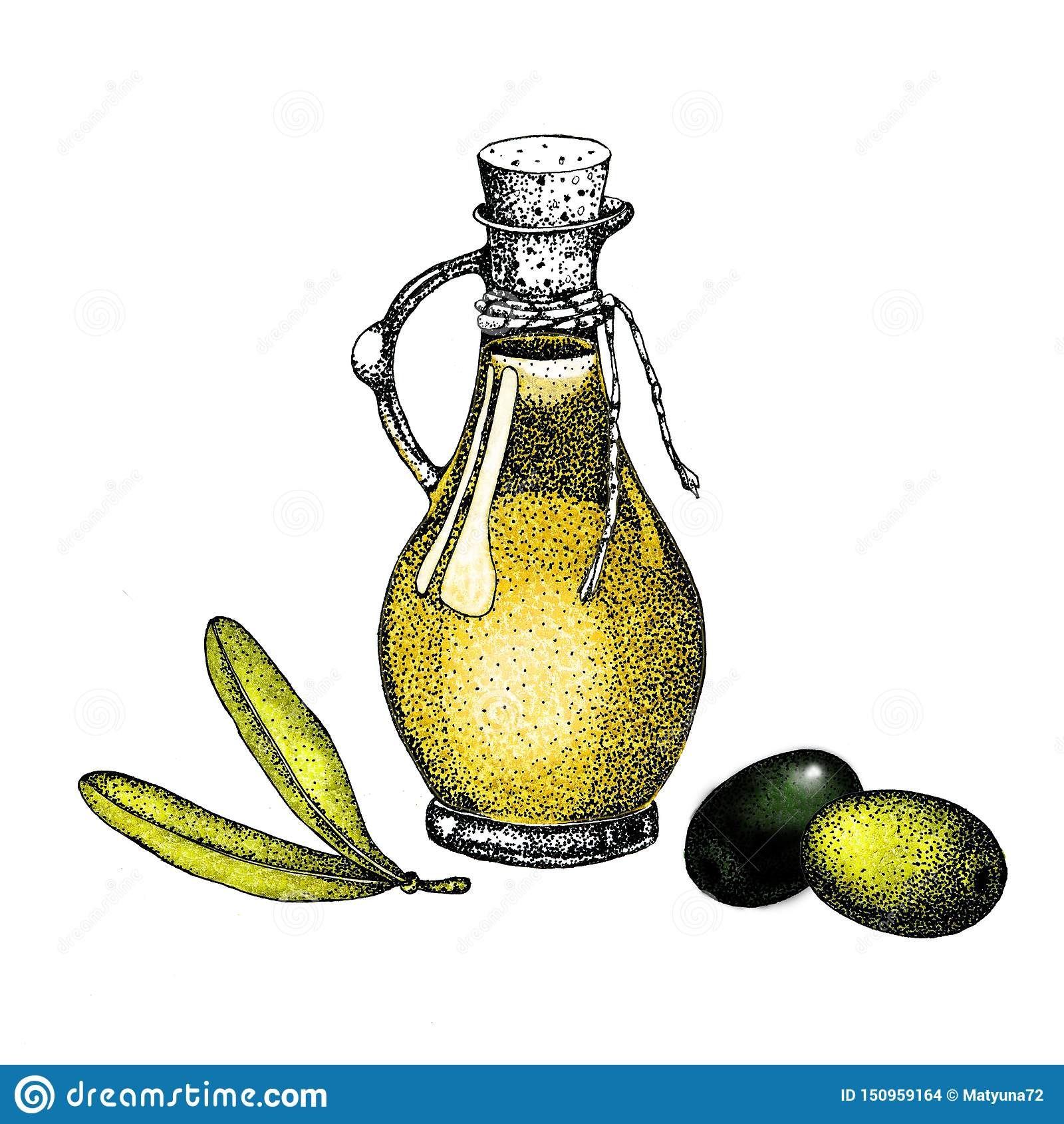 Realistic illustration of black and green olives branch isolated on green background. Design for olive oil, natural cosmetics,