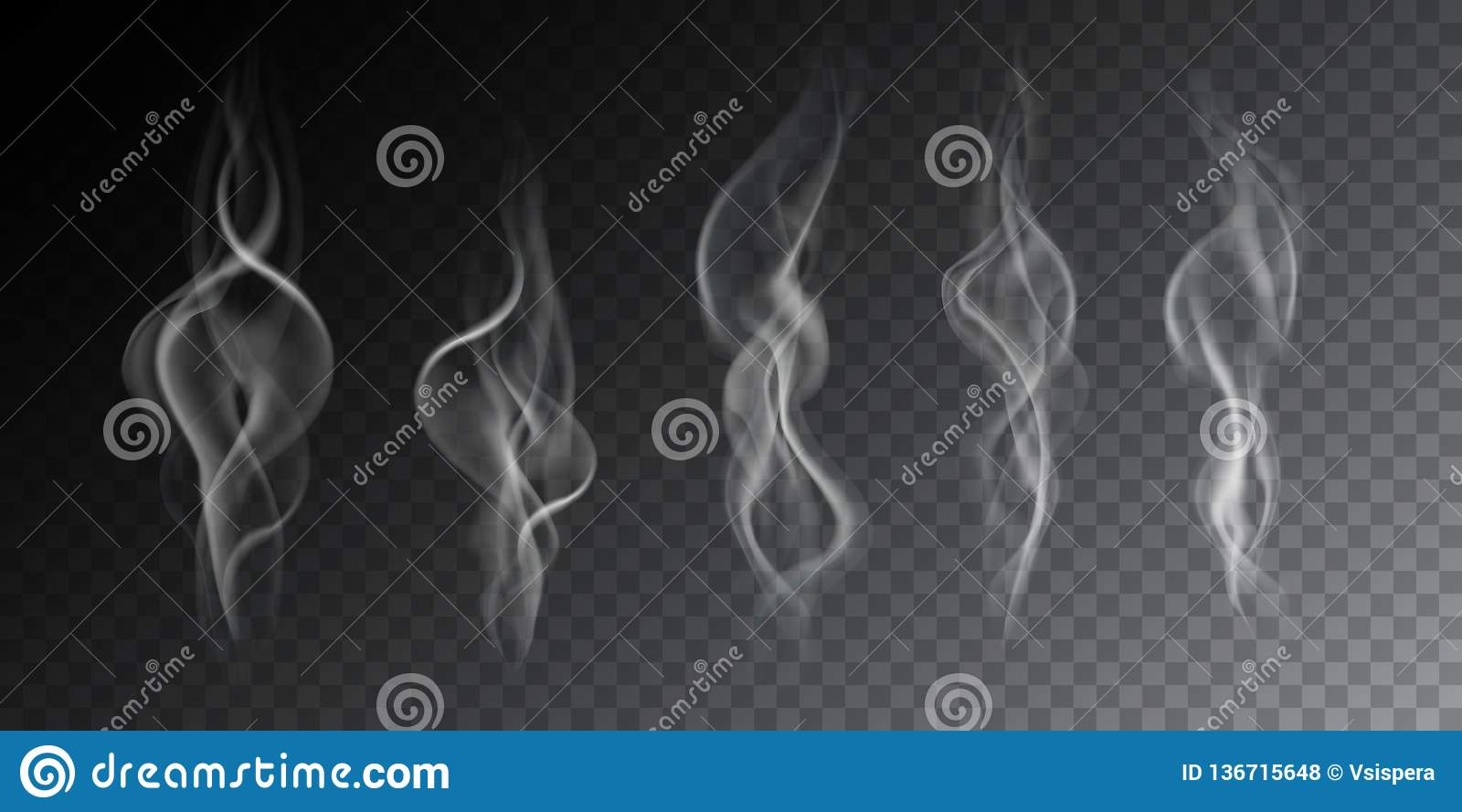 Realistic illustration of haze, cigarette smoke or steam over a hot drink, isolated on a transparent background, vector