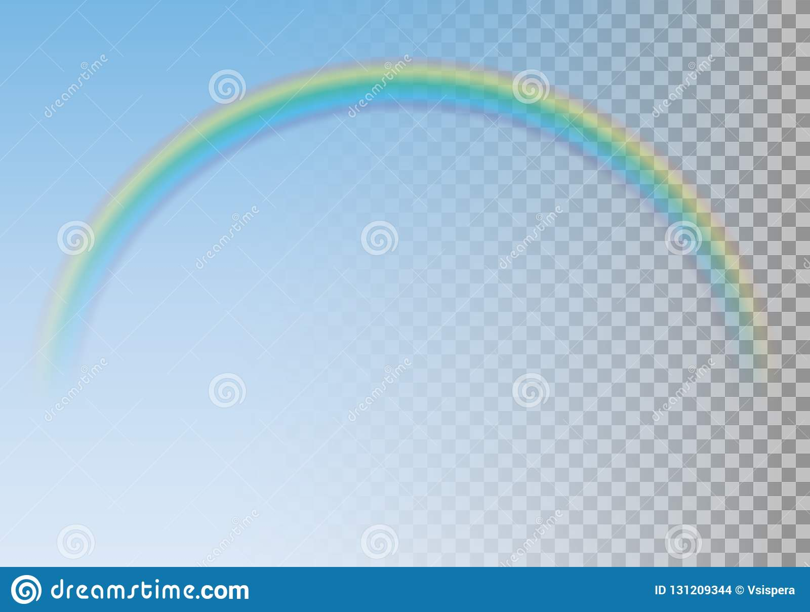 Realistic illustration of transparent colorful rainbow on blue s