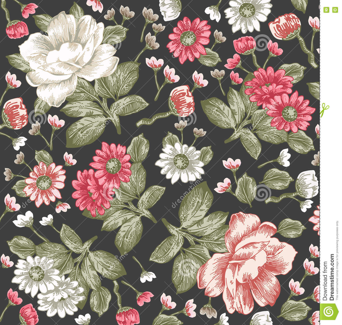 Realistic Flowers Pattern Vintage Baroque Background