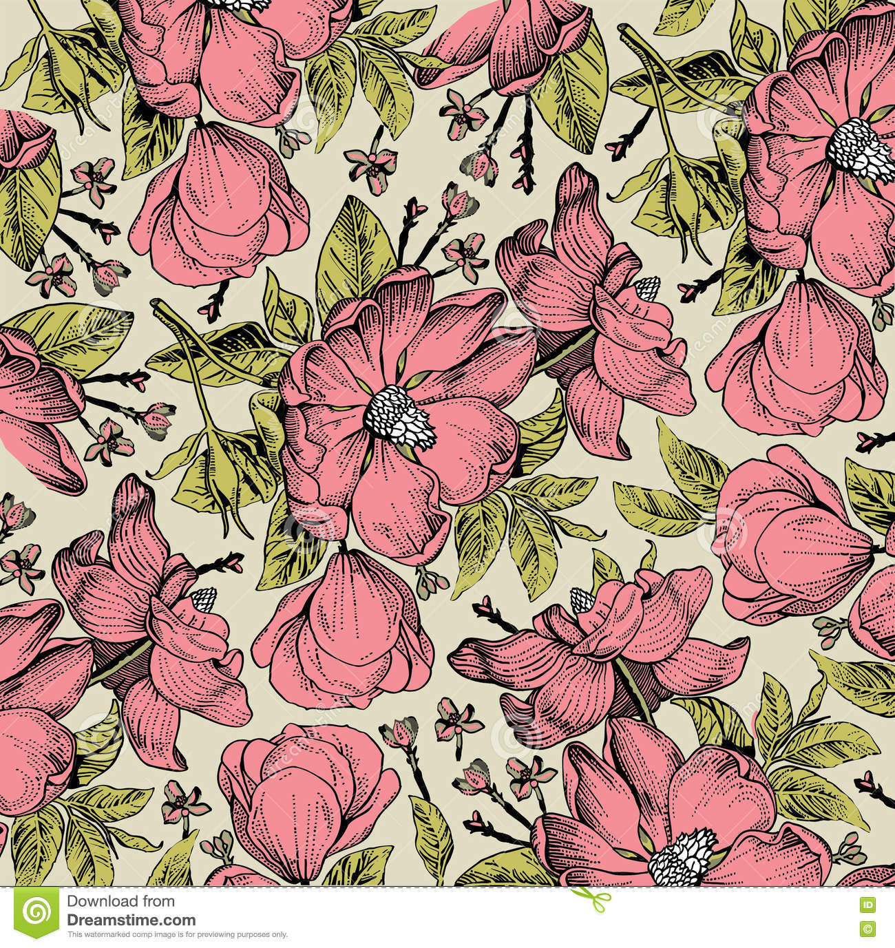 Realistic Isolated Flowers Pattern Vintage Baroque