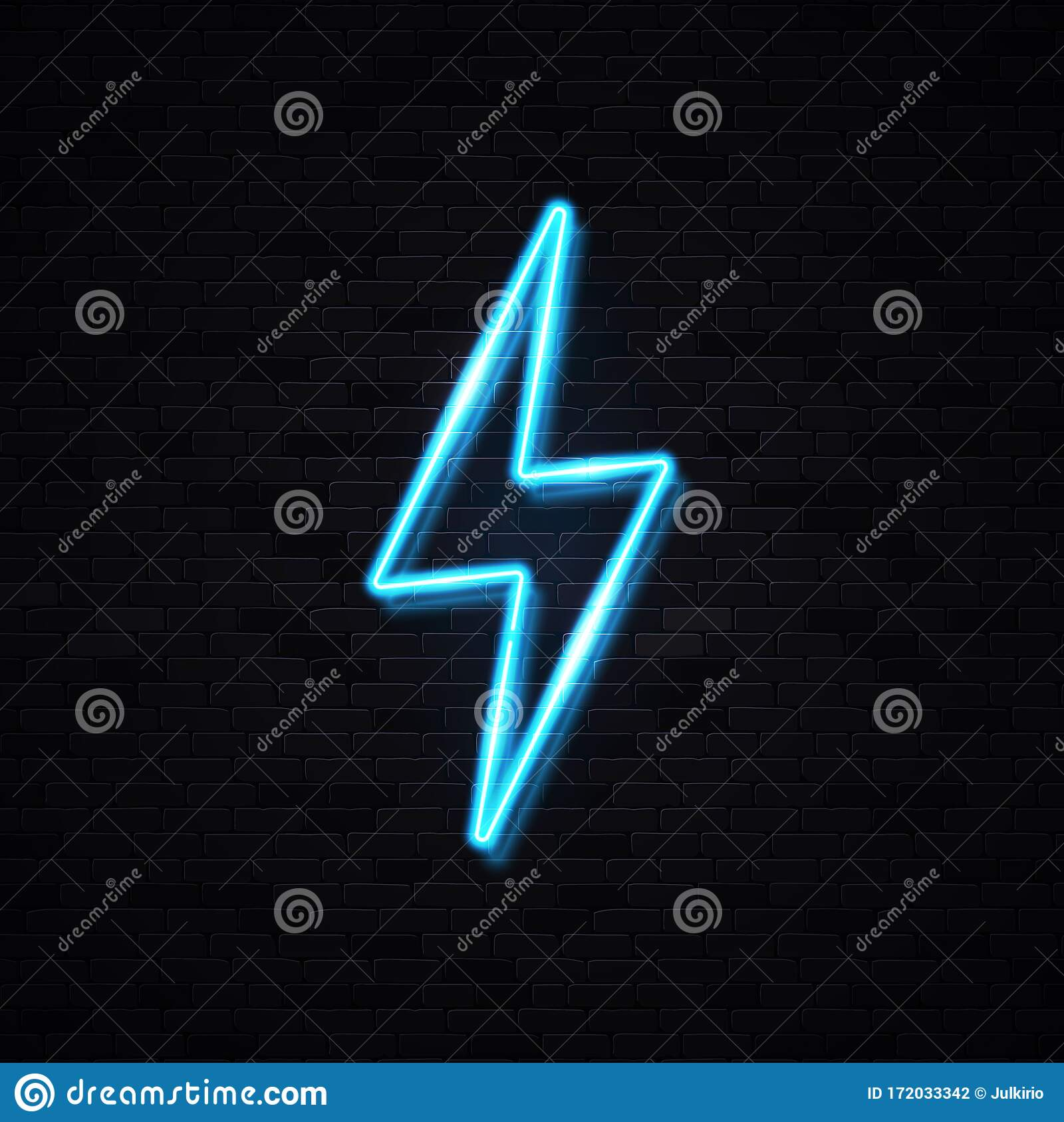Realistic Isolated Neon Sign Of Lightning Bolt. Stock Vector ...