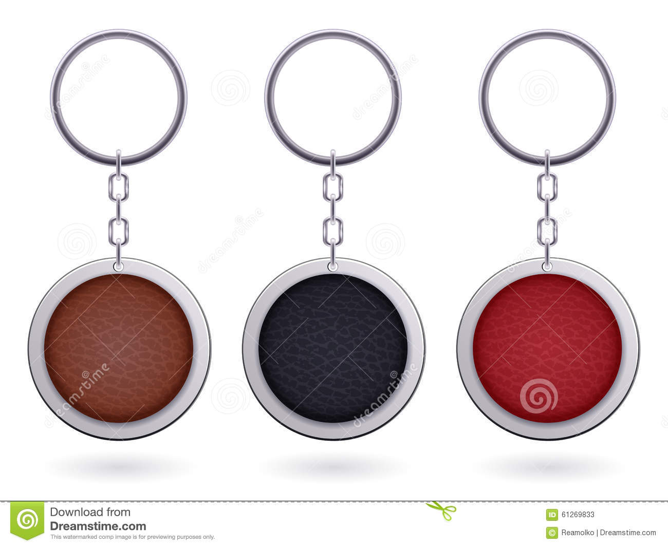 realistic keychain pendant template stock vector illustration of