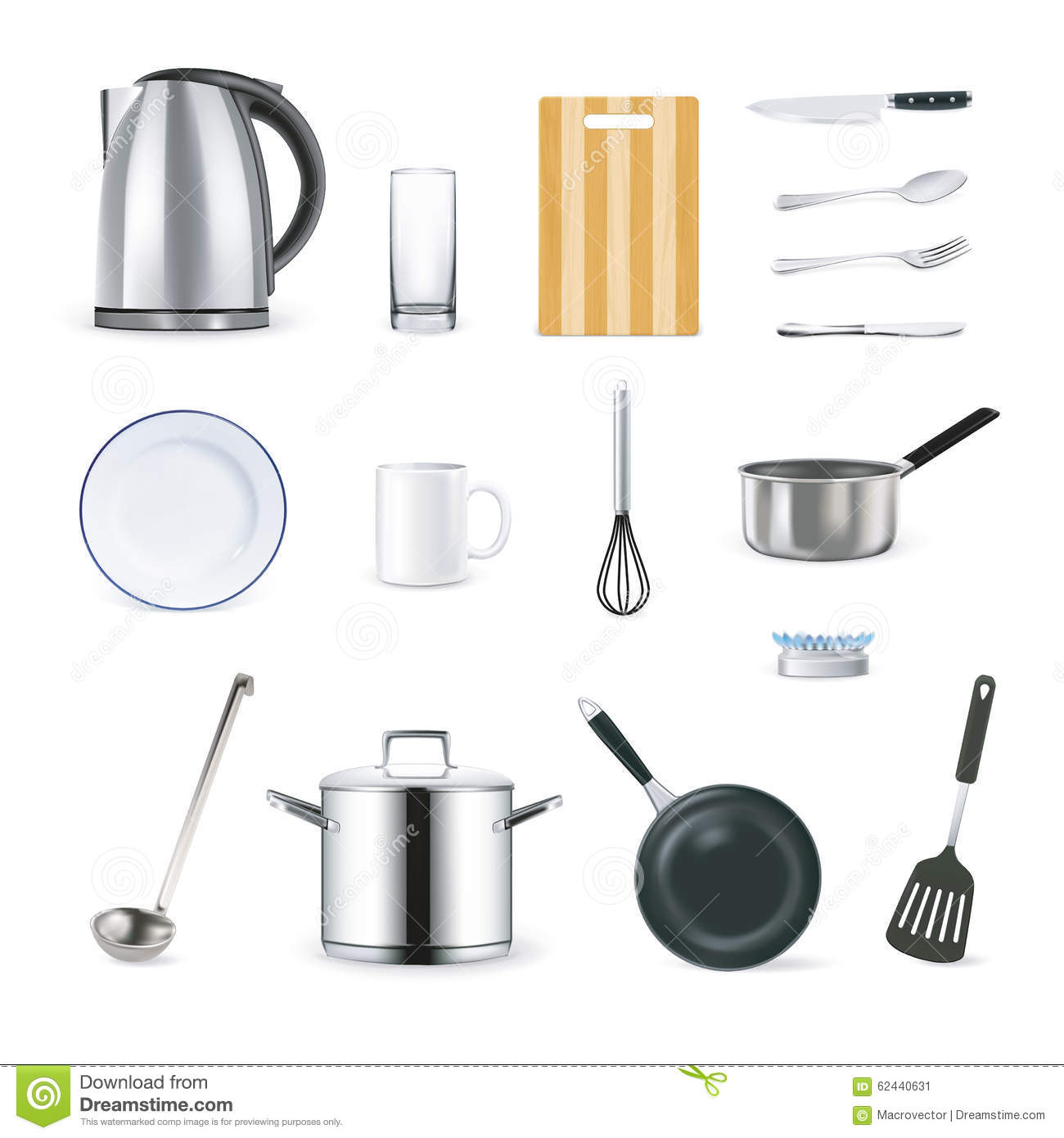 Realistic icons of kitchen utensils cartoon vector for Kitchen set vector