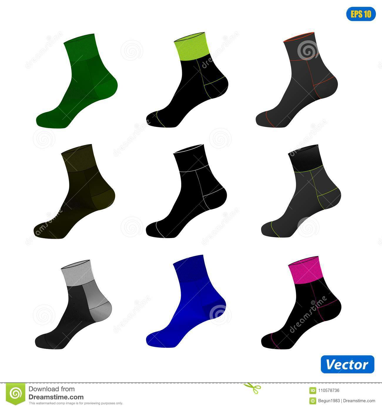 realistic layout of socks a template simple example vector