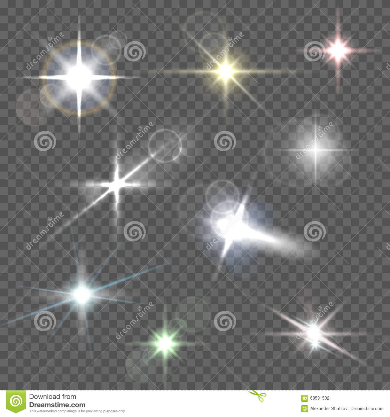 realistic lens flares star lights and glow white elements on transparent background vector