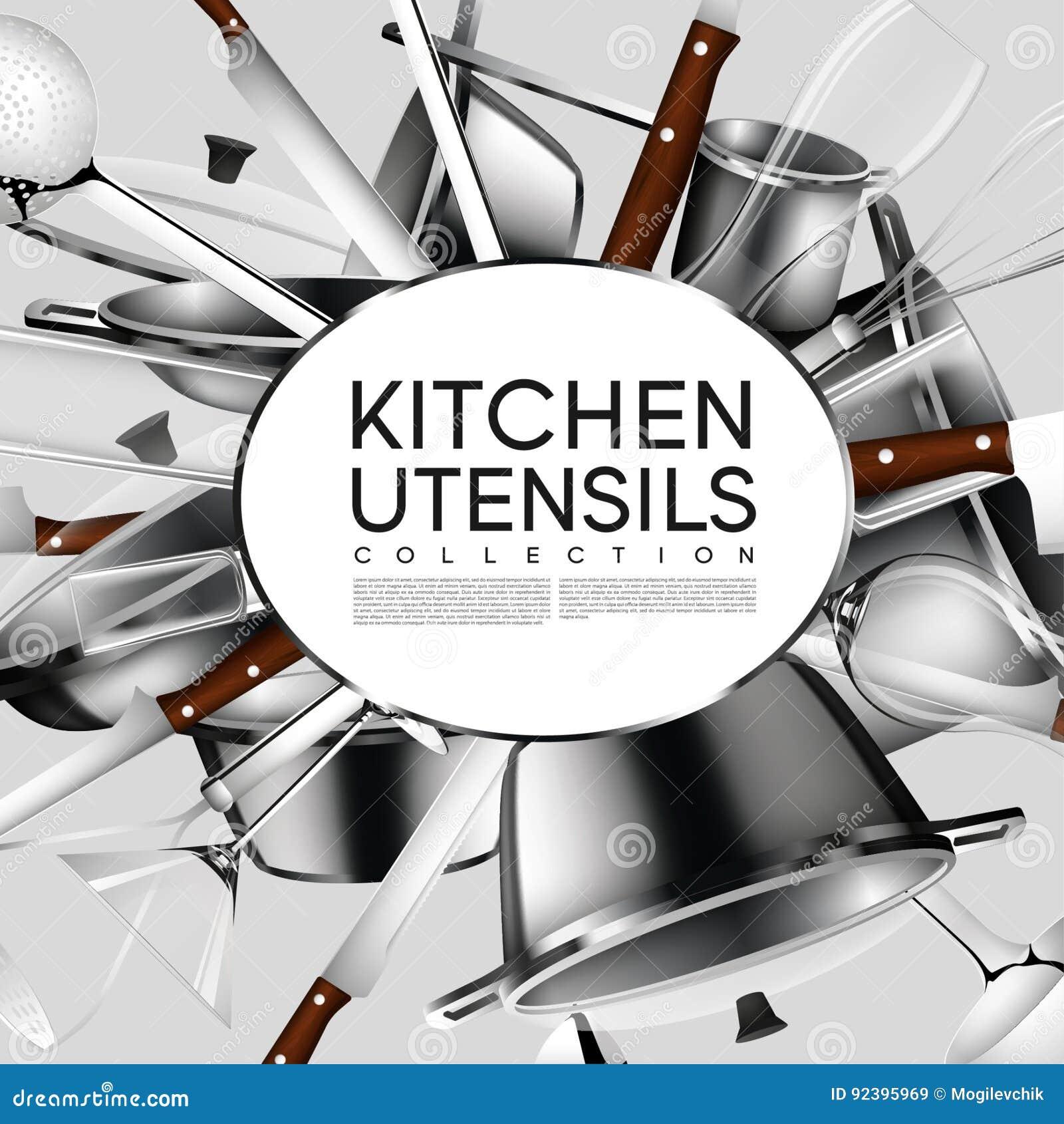 realistic light kitchen utensil poster stock vector illustration