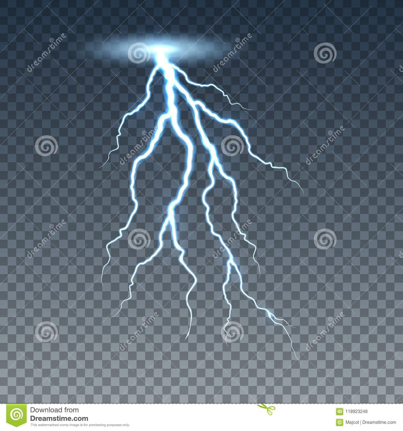 Realistic Lightning And Thunder Bolt Stock Vector