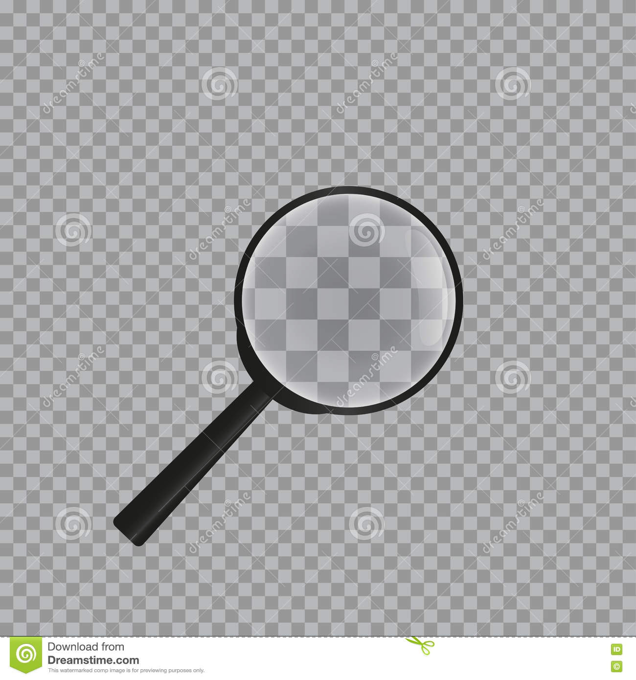 Realistic magnifying glass on checkered background