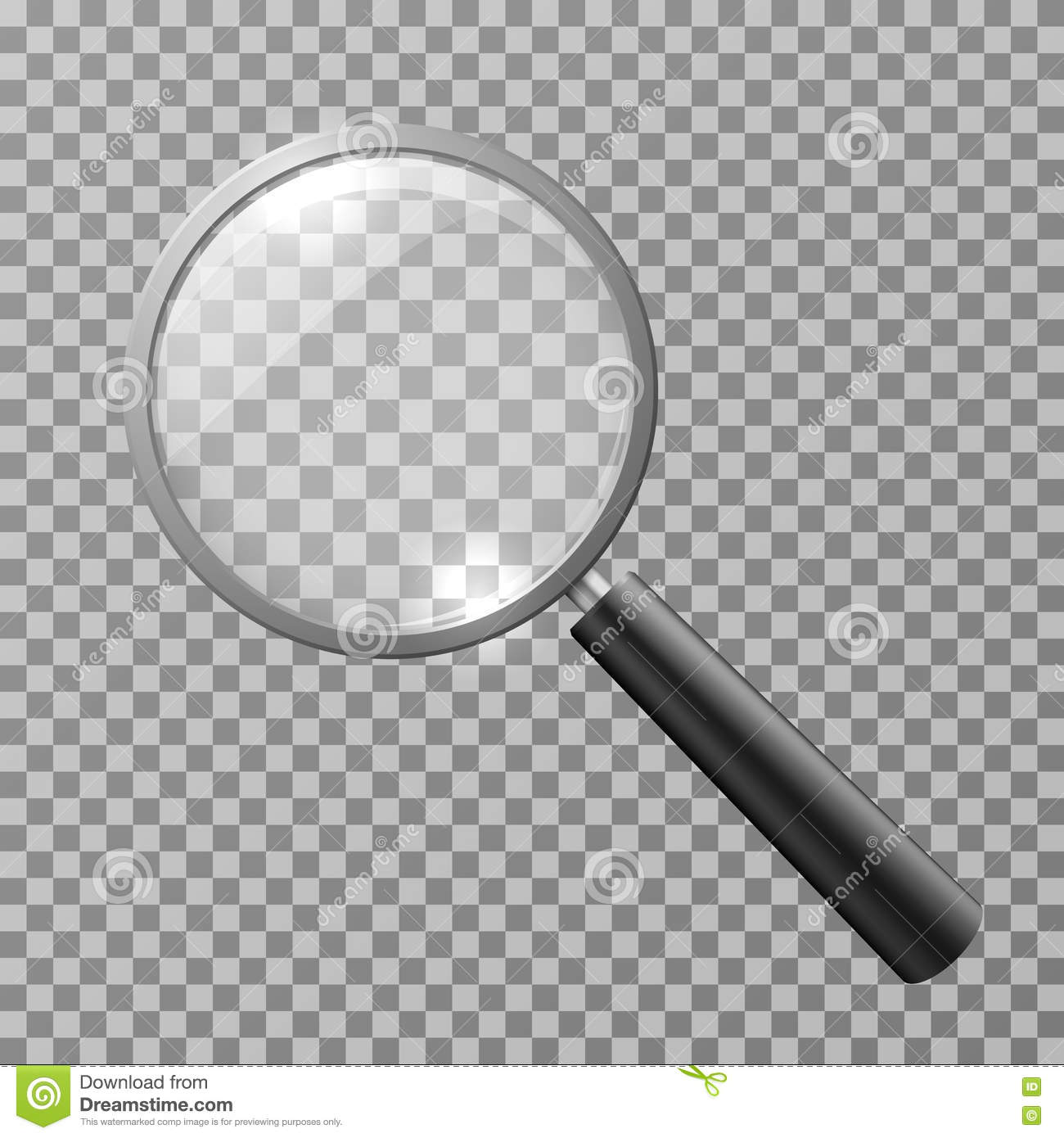 Realistic magnifying glass on checkered background vector illustration