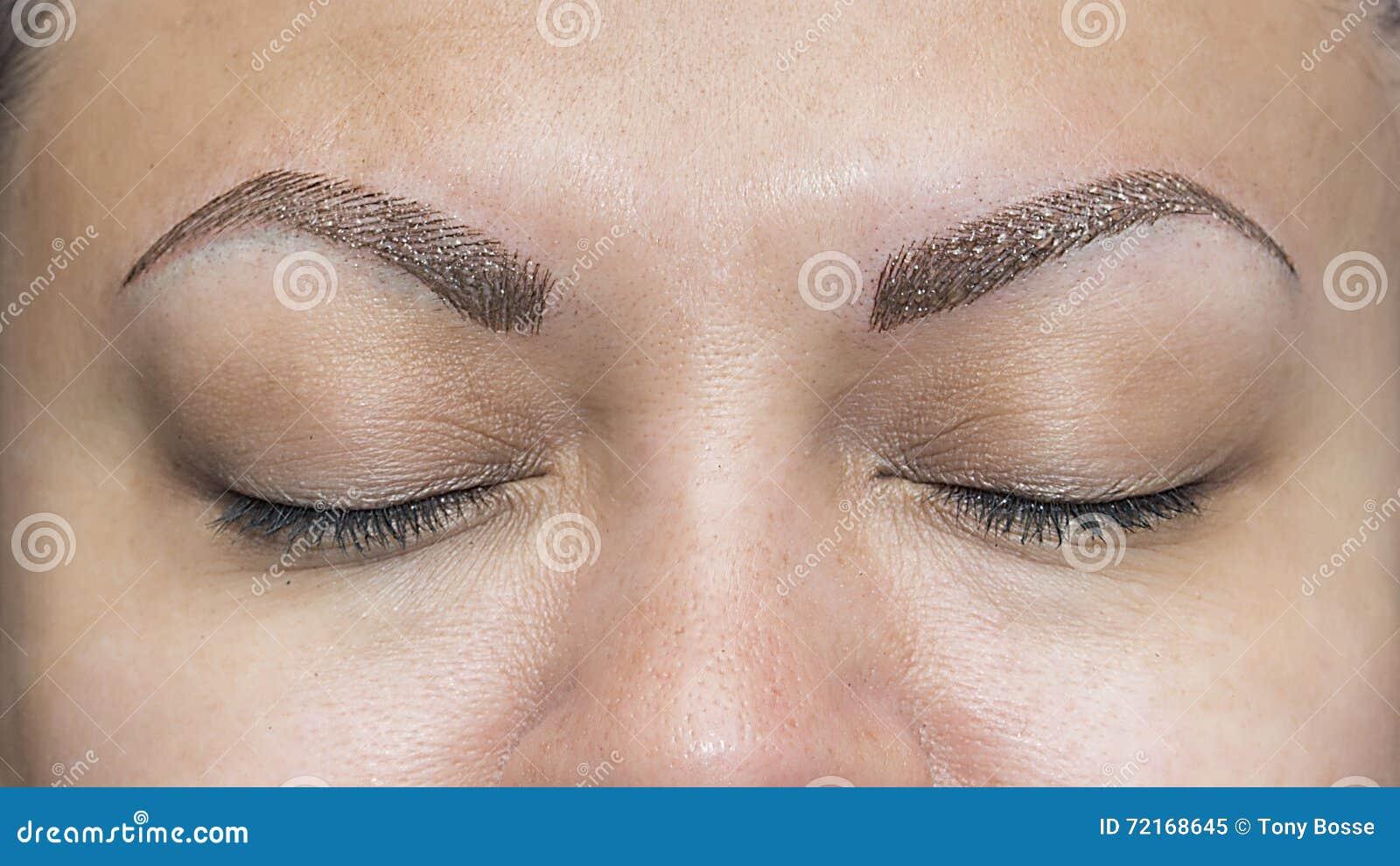 Realistic Makeup Eyebrow Tattoos Stock Image - Image of woman ...