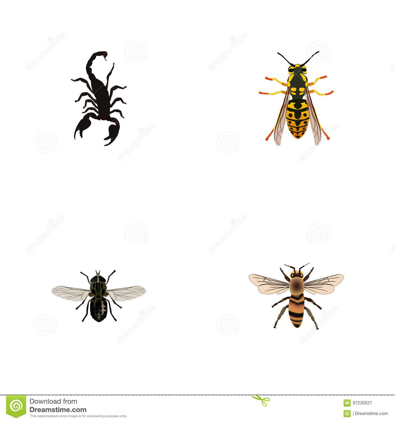 realistic midge bee wasp and other vector elements set of bug