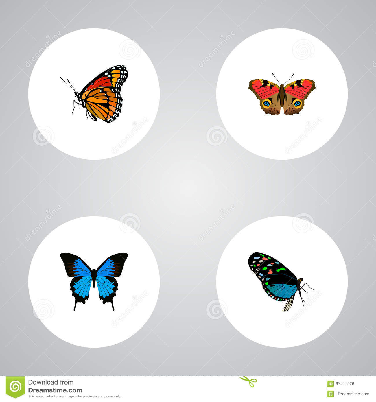 Realistic Milkweed, Common Blue, American Painted Lady And Other Vector Elements. Set Of Moth Realistic Symbols Also