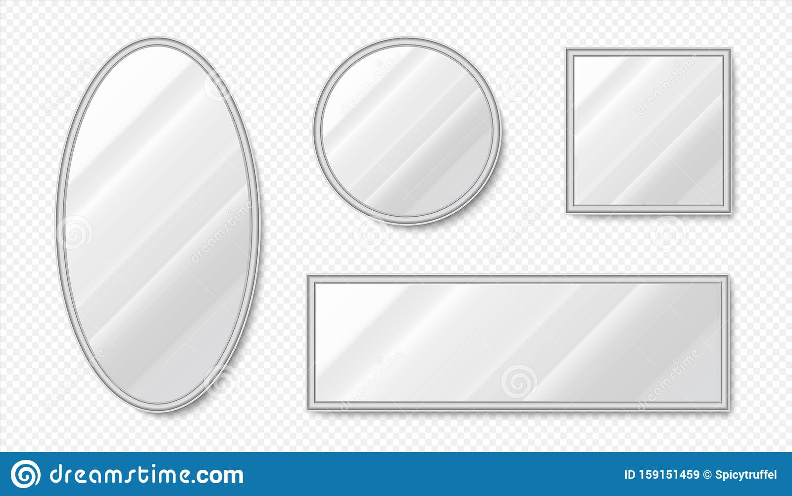 Realistic Mirrors Empty Oval And Square Mirrors With Metal