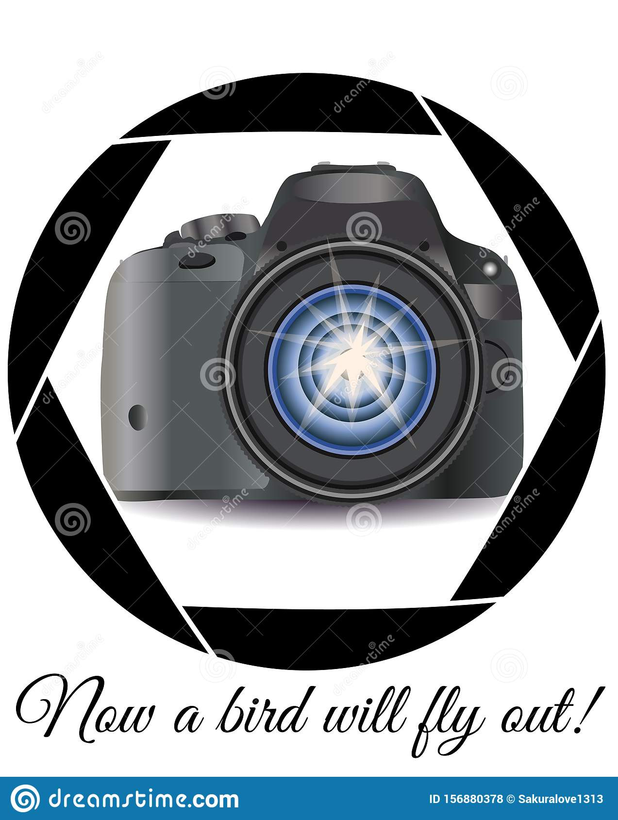 A realistic modern camera in the frame of the camera s diaphragm. Concept photography, vocations, photo business