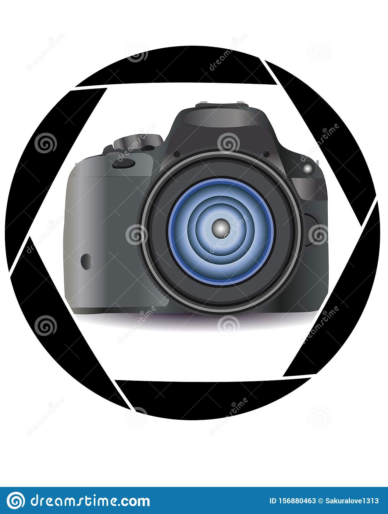A realistic modern camera in the frame of the camera s diaphragm. Concept photography, vocations