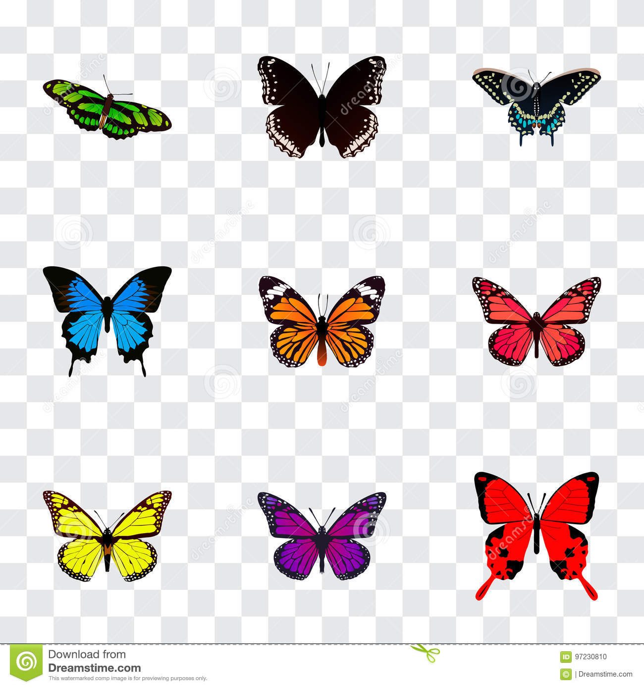 Realistic Morpho Hecuba, Monarch, Common Blue And Other Vector Elements. Set Of Butterfly Realistic Symbols Also