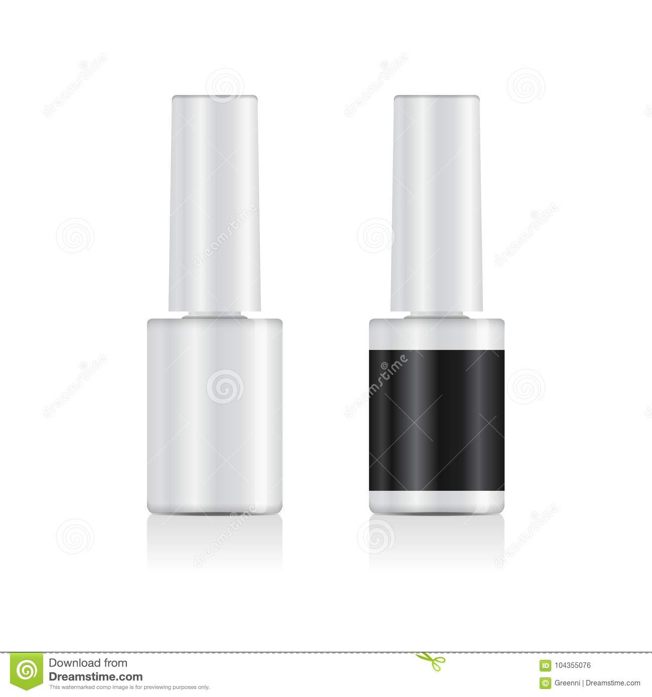realistic nail polish set mock up 3d white bottle vector template