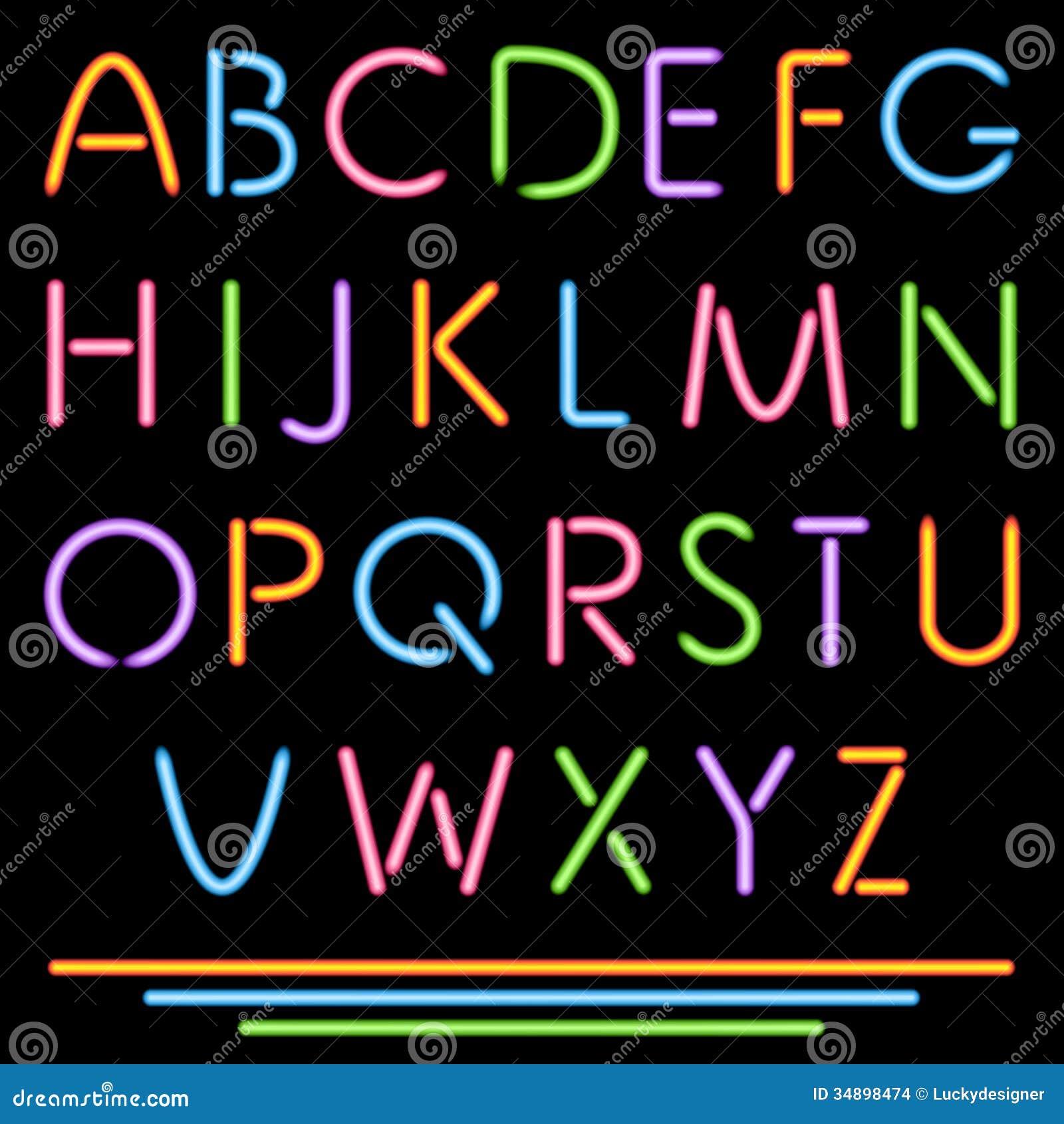 realistic neon tube letters alphabet abc font multicolor