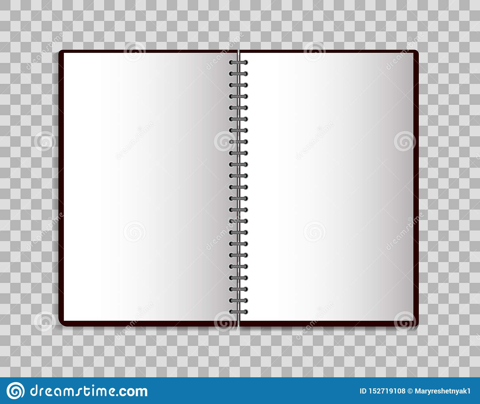 Realistic notebook in mockup style. Open blank notepad with spiral. Template of empty notepad on isolated background.vector eps10