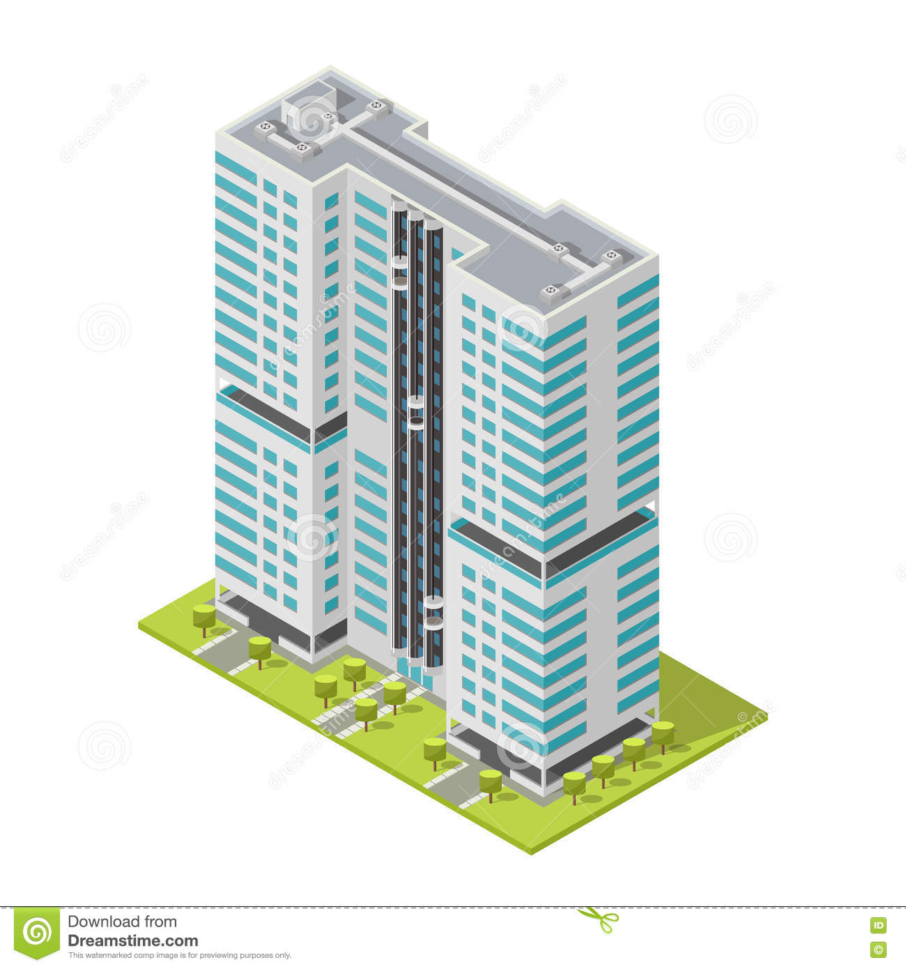 Realistic office building isometric skyscraper modern for Apartment design vector