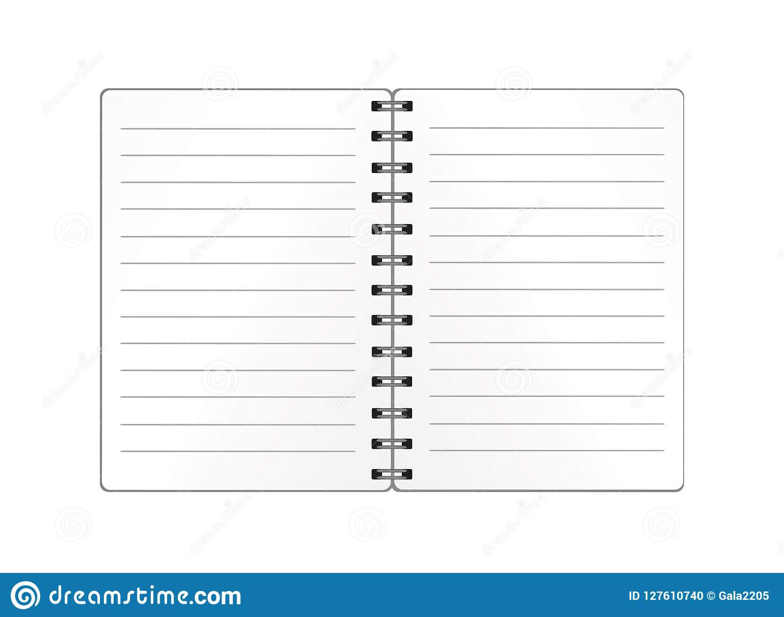 realistic opened notebook template with spiral isolated vector