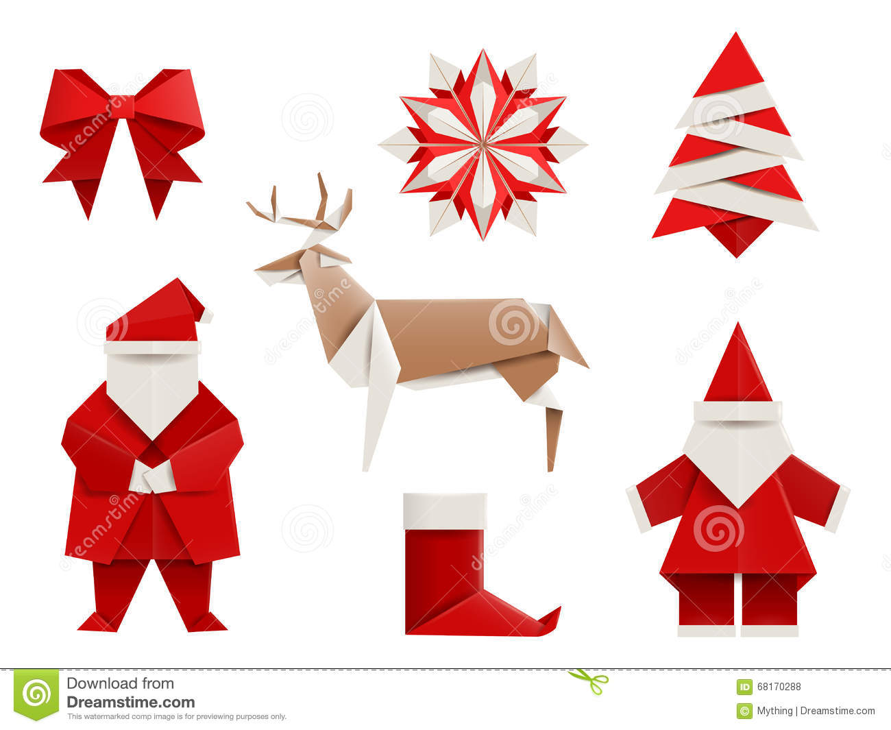 Realistic origami christmas set santa deer christmas tree snowflake and - Decoration noel origami ...