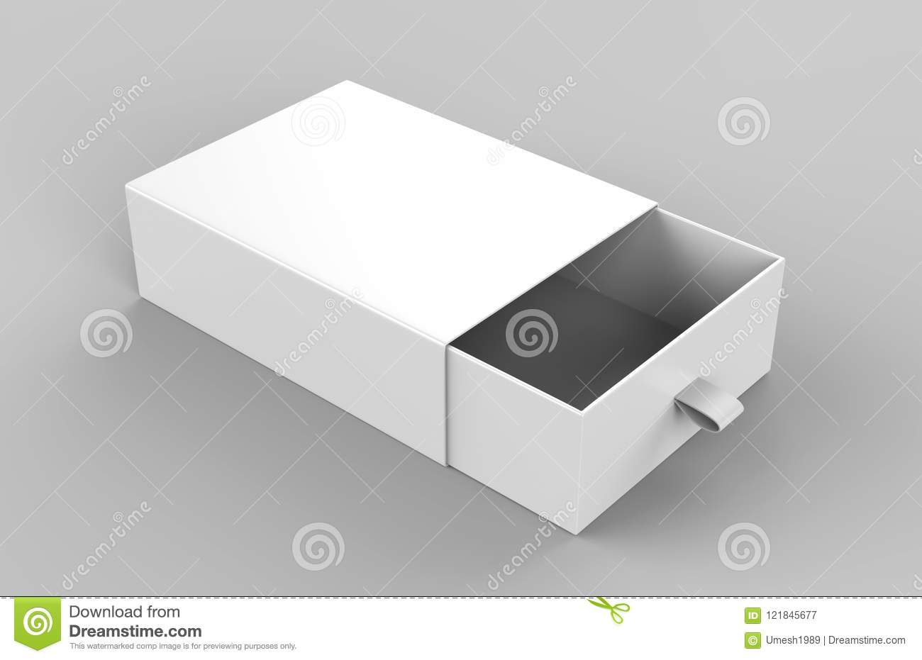 Realistic Package Cardboard Sliding Box On Grey Background For Small Items Matches And Other Things