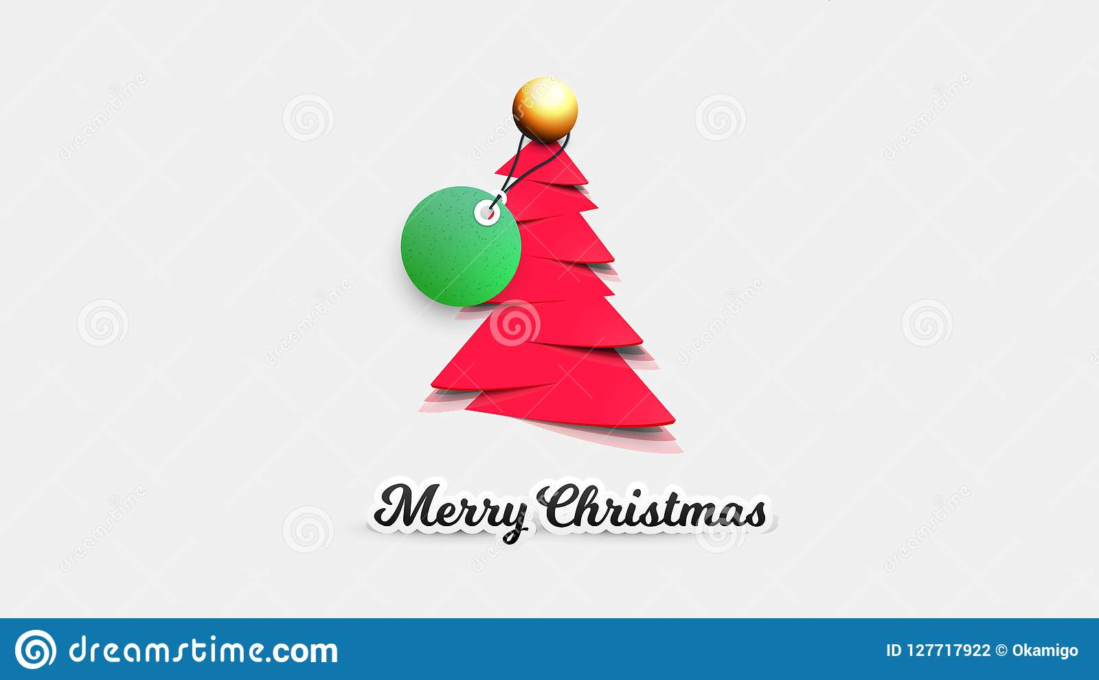 realistic paper christmas tree with sale tag vector template for