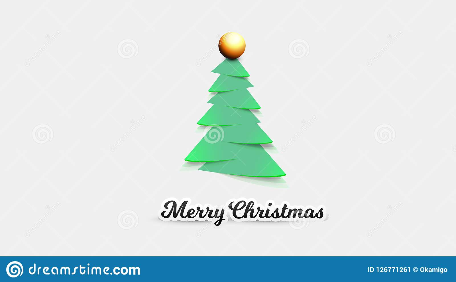 Realistic Paper Christmas Tree Vector Template For Xmas Gift Cards