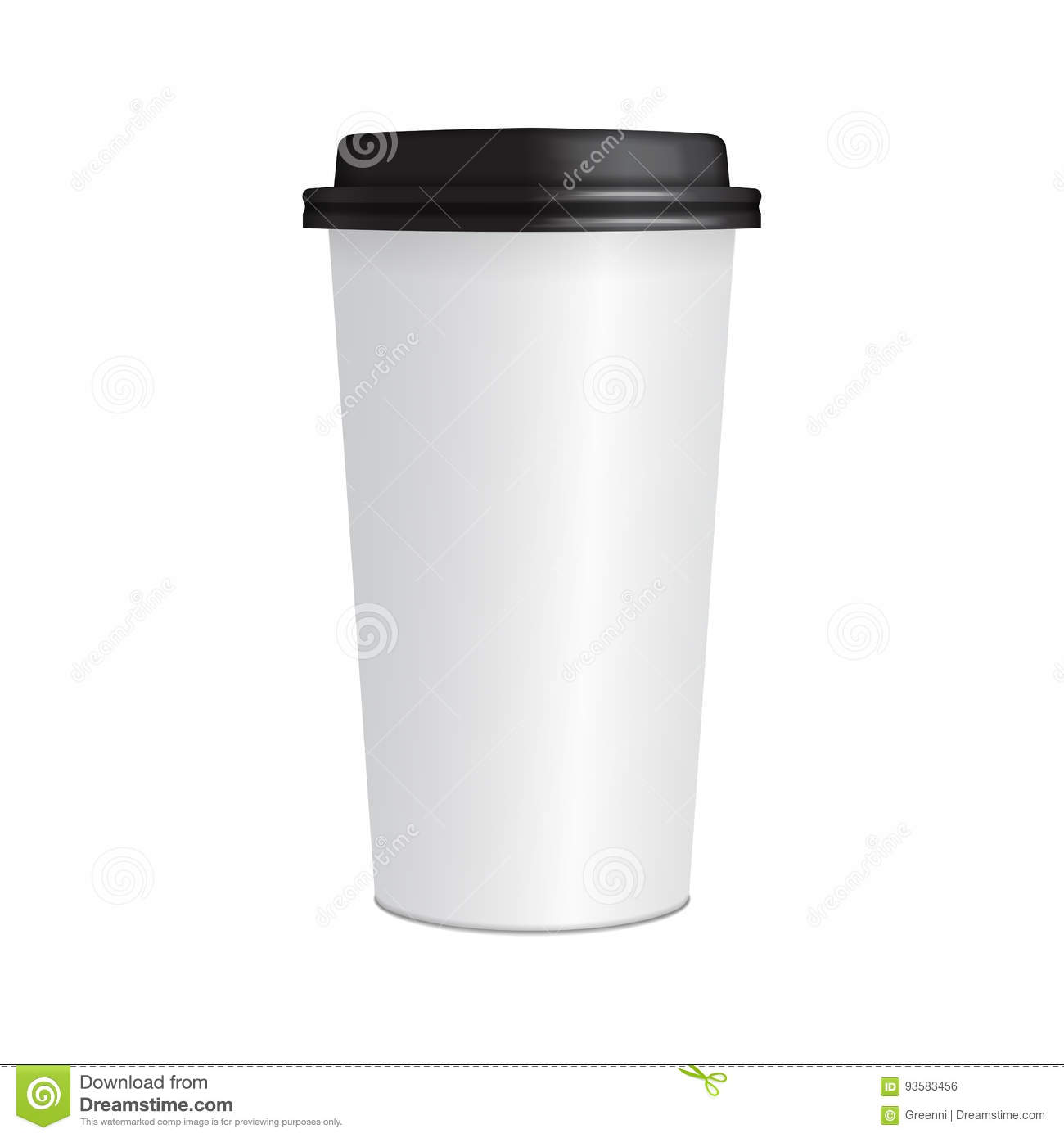 Realistic Paper Coffee Cup 3d Mock Up Vector Template