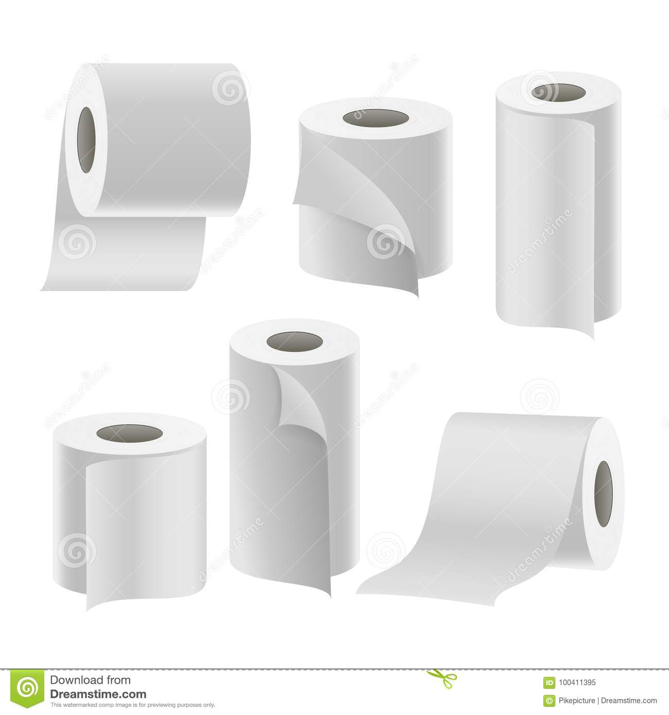 paper tape roll set vector bathroom hygiene 3d toilet paper blank