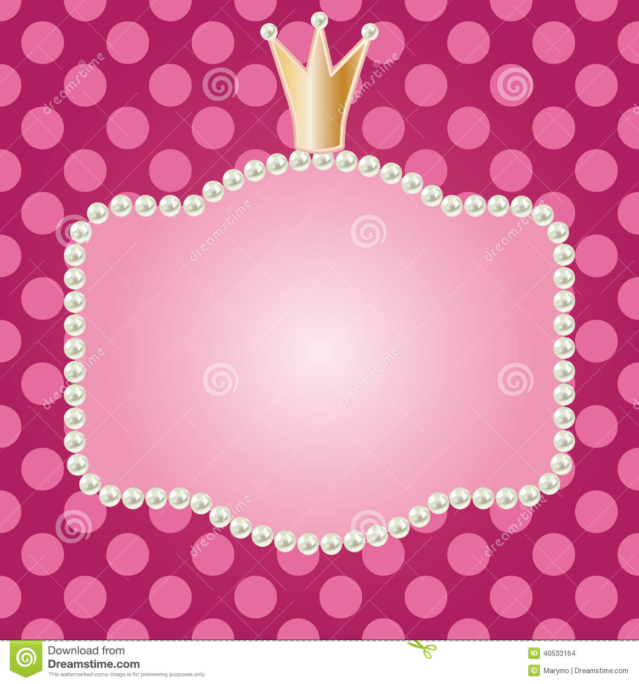 Realistic Pearls Frame With Crown Stock Vector - Illustration of ...
