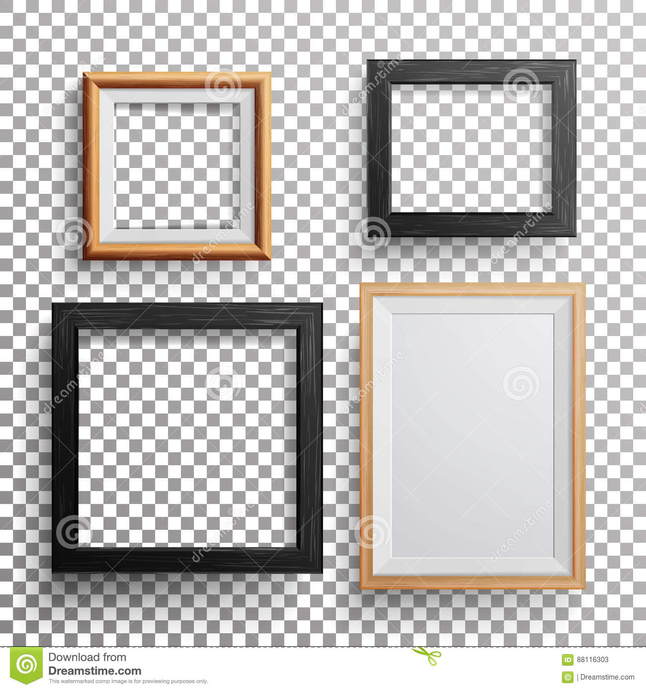 Realistic Photo Frame Vector. 3d Set Square, A3, A4 Sizes Light Wood ...