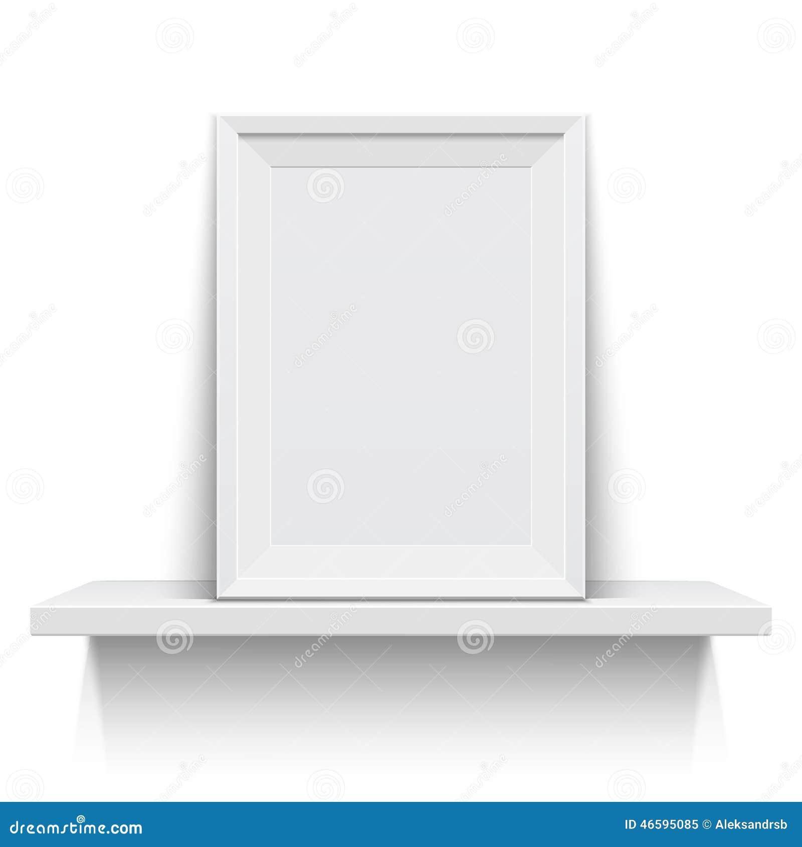 Realistic Picture Frame On White Shelf Stock Vector - Illustration ...