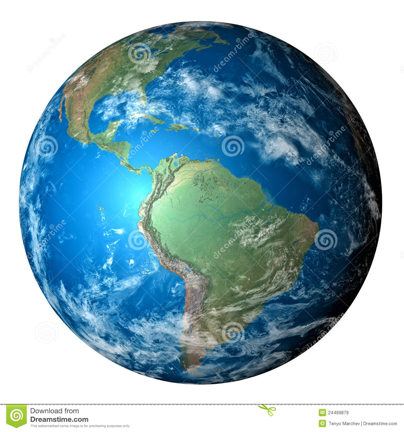 Photo realistic planet Earth isolated - PNG