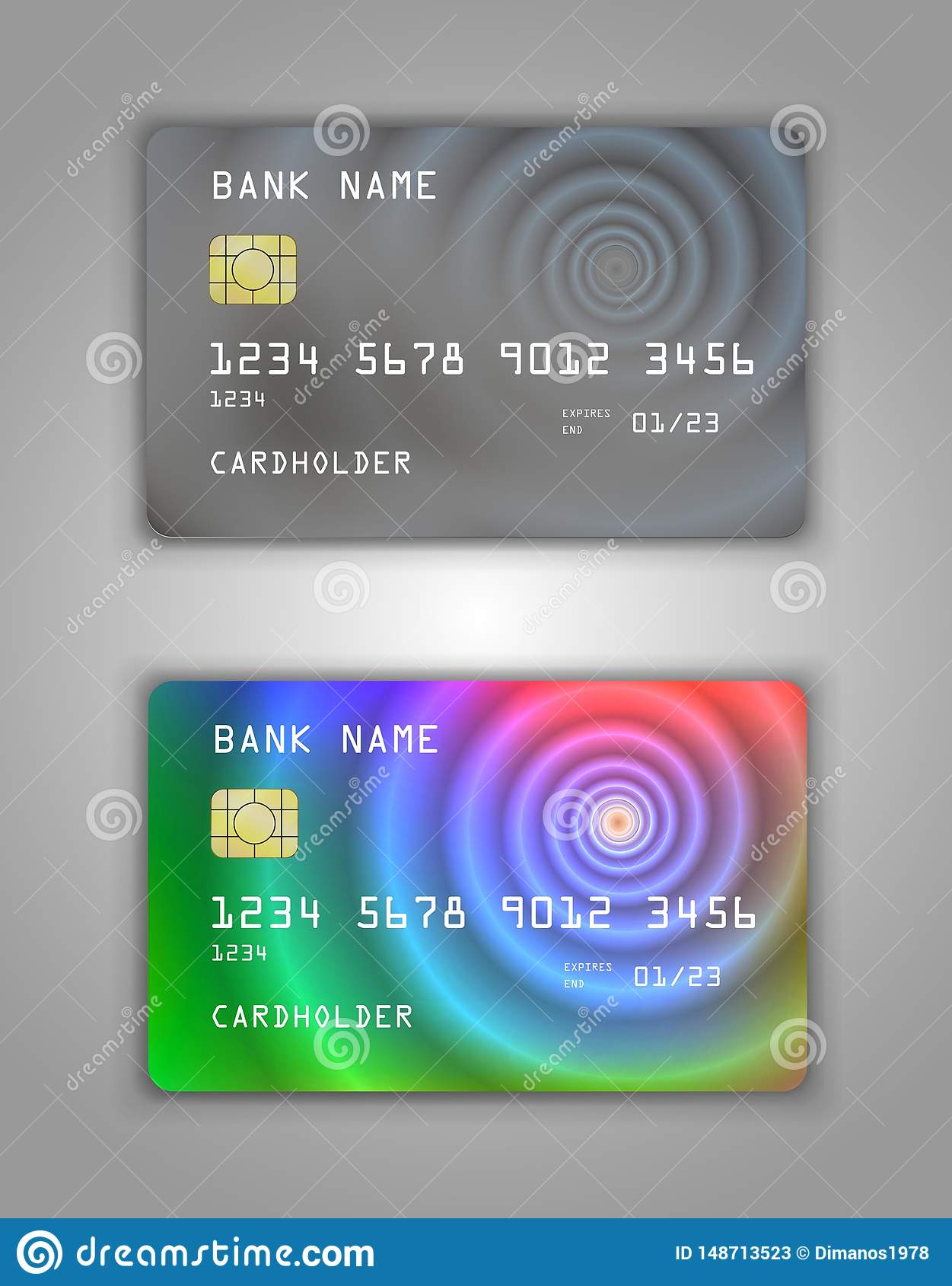 Realistic plastic Bank card vector template. Figure spiral gradient. Background color Grey, multicolor, rainbow