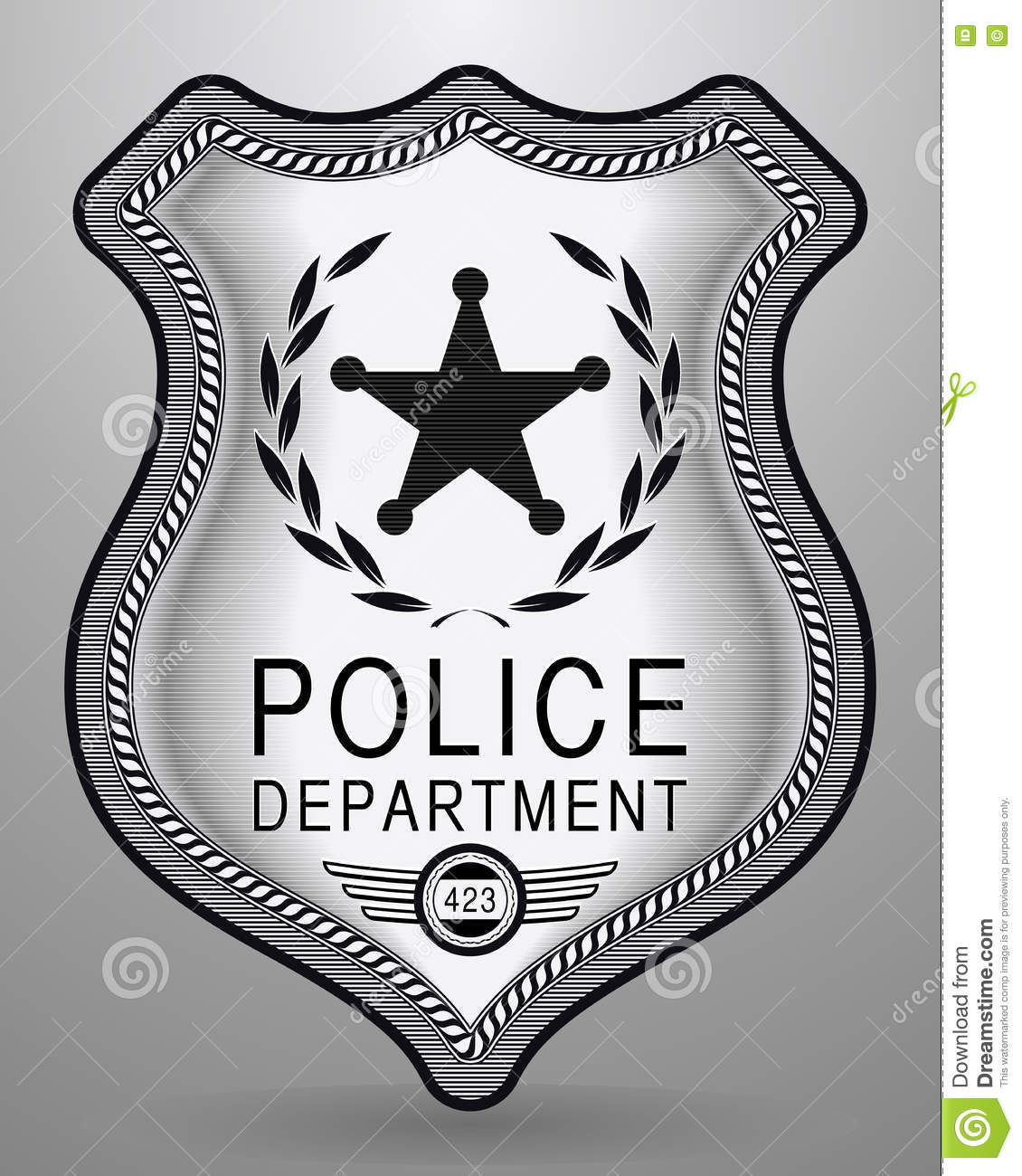 realistic police badge vector isolated illustration stock