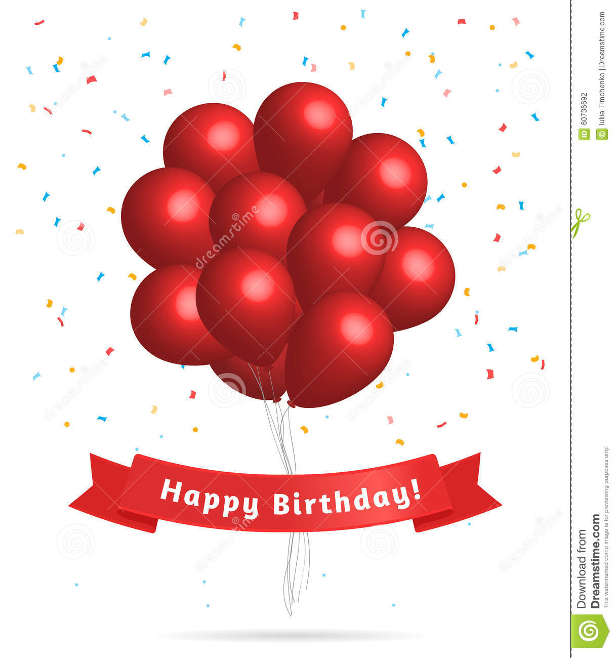 Realistic Red Balloons. Birthday Background. Stock Vector ...